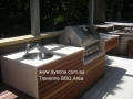 Travertine bbq area