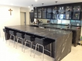 Charcoal Lightning Marble Bench Tops With 50mm mitre edges.