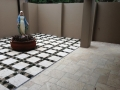 Ivory Travertine Tumbled Pavers 406x406x30mm Stepping Stones &  Classic Travertine Tumbled French Pattern 12mm Tiles